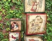 Black Friday Sale-Vintage Christmas Blocks-Large-Ho Ho Ho