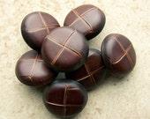 "vintage jacket buttons Fake Brown Leather vegan 3/4"" x7"