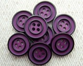 Mod Vintage Sewing Buttons 18mm - 5/8 inch Two Tone Purple Plastic Buttons with Black Ring-arounds - 8 VTG Plastic Sew Through Buttons PL060