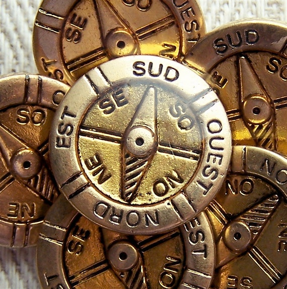 "vintage shank buttons Golden Compass french pirate 1/2"" 5/8"" x8"
