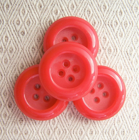 """BiG vintage buttons Primary Red thick retro 1 1/16"""" x4"""