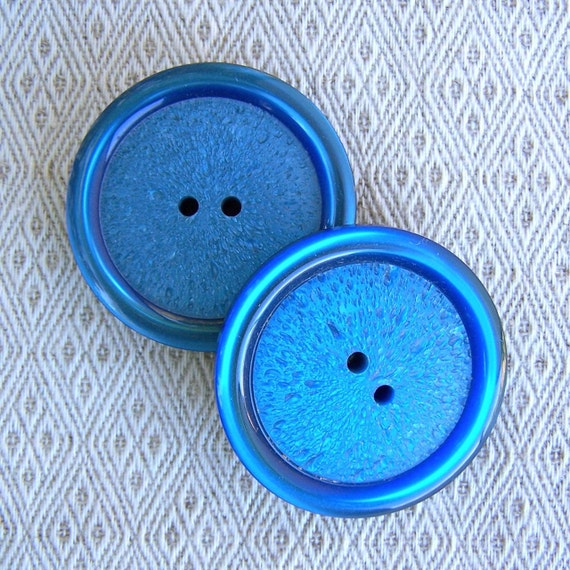 "GiANT Pair vintage buttons Cerulean Blue lumin 1 5/8"" x2"