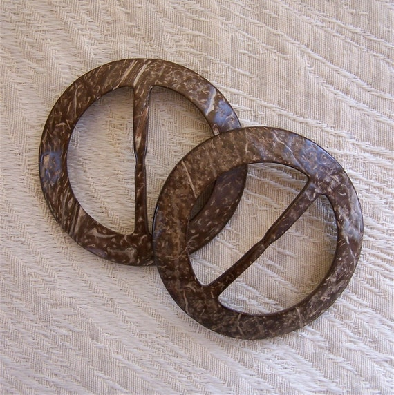 two COCONUT BUCKLES great for sashes sarongs belting material NATURAL belt accessory DARK TONES
