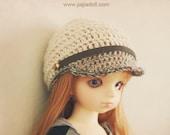 jiajiadoll-hand knitting-cream visor cap fits YoSD 1/6 BJD