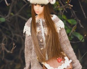 jiajiadoll-hand knitting-vintage feel camel lace cardigan sweater fits momoko and misaki OR Blythe