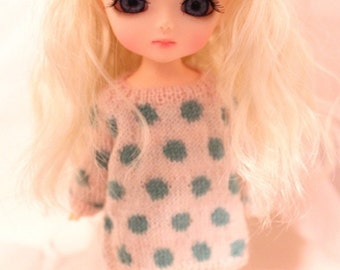 jiajiadoll hand-knitting dots party-white and blue dots sweater and violet tights  lati yellow