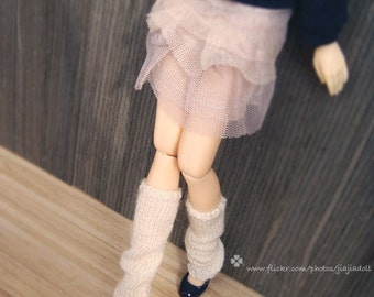 jiajiadoll hand-knitting leg warmers in white fit momoko and blythe