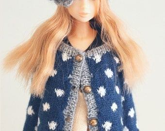 jiajiadoll-hand knitting-blue long cardigan in white dots fits Momoko and misaki or Blythe