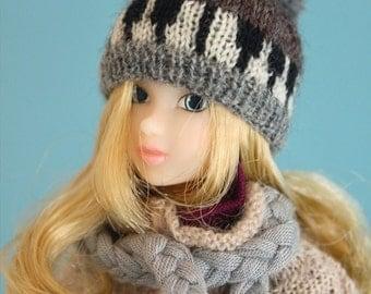 Jiajiadoll- hand knitting-grey piano hat fits Momoko And Misaki
