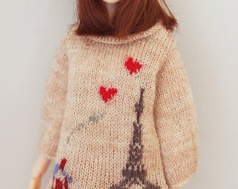 jiajiadoll-hand knitting-love love Eiffel Tower-Day fits Momoko Or Blythe Or Misaki