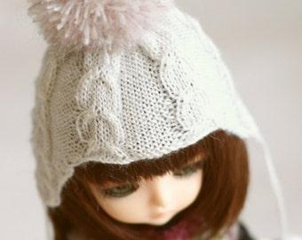 jiajiadoll hand knitting-white pompom Earmuffs hat lati yellow pukifee