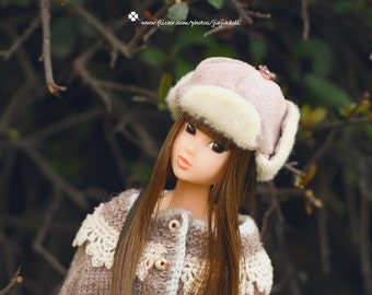 Jiajiadoll- pink fur helmet fits momoko and Misaki and OB and unoa light