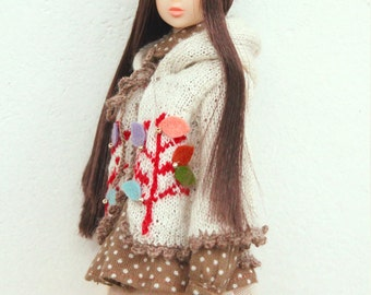 jiajiadoll-hand knitting- cloured leaves tree sweater hooded cardigan fits Momoko Or Blythe Or Misaki