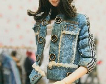 jiajiadoll- washed jean stripes jacket fits momoko or blythe Misaki Unoa light