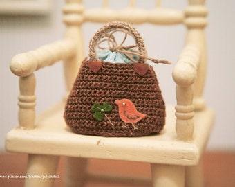jiajiadoll-hand knitting-coffee bird and clover little bag handbag fits Momoko Blythe Misaki Pullip Lati yellow YoSD