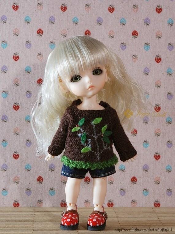 jiajiadoll hand-knitting wake up tree sweater (coffee/white) fits Lati yellow or Blythe