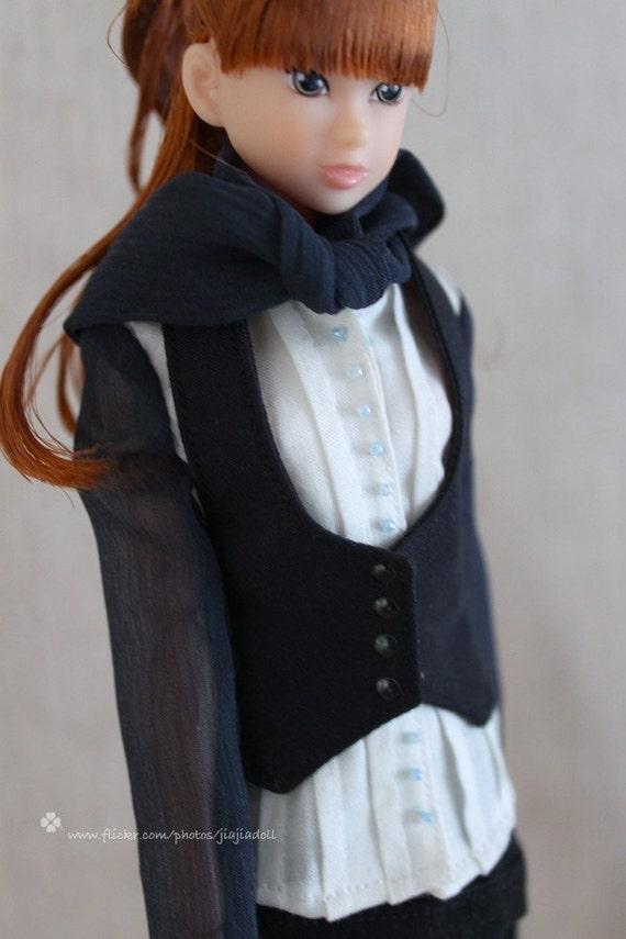 Jiajiadoll- black vest fits Momoko Or Blythe Or Misaki