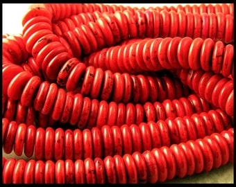 Red Dyed Magnesite Rondelles 10.5MM - GM295