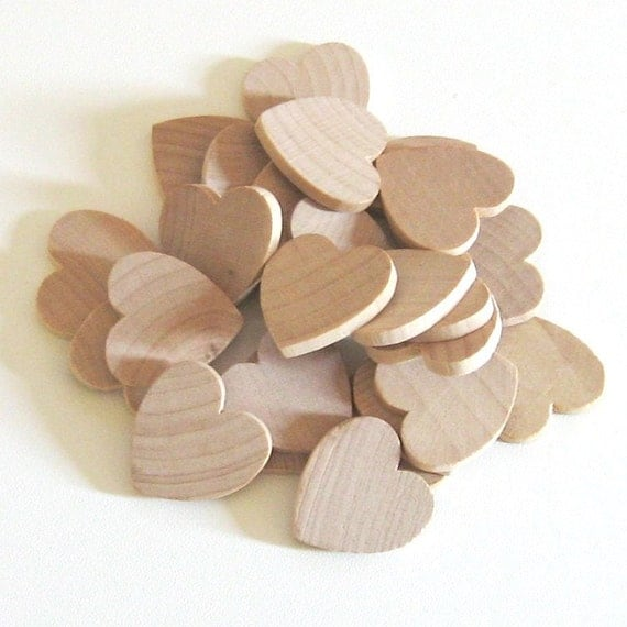 Unfinished Wooden Hearts - 1 inch - Pack of 25