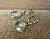 Mystic Green Quartz 14K Solid Gold Leverback Earrings