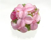 Brilynn Buttons BUTTER YELLOW and Pink FLORAL LAMPWORK GLASS BUTTON