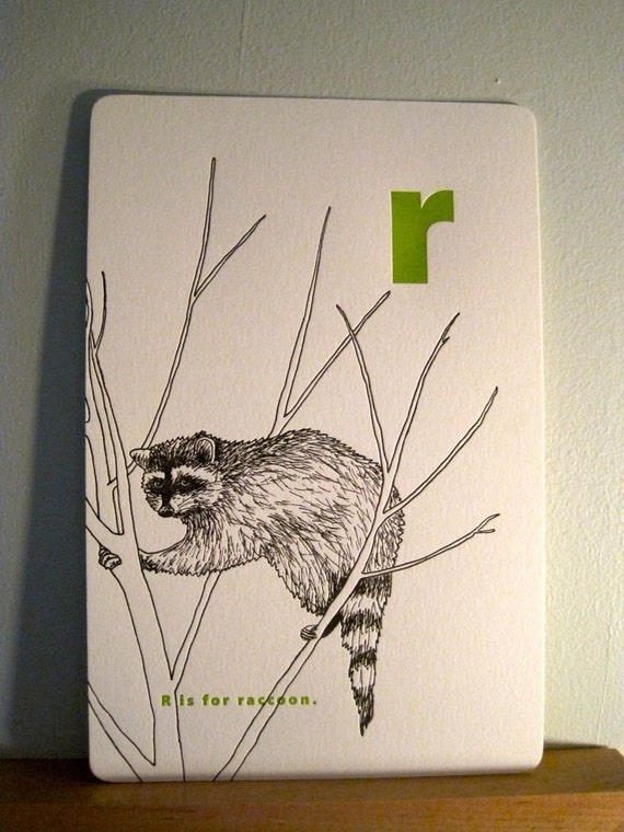 letterpress r is for raccoon