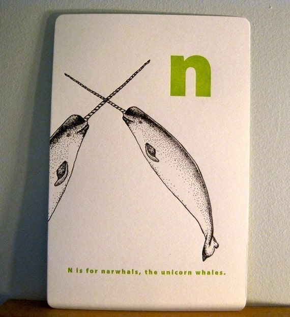 letterpress n is for NARWHAL