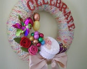 Birthday Celebrate Wreath - Yarn and Felt Wreath with Faux Cake and Balloons, 12 inch size
