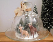Unique Deer Decoration - Frozen In Time, Under Glass, Upcycled