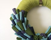 Peacock Felt Wreath, Yarn with Green, Blue, Purple Accents, 12 inch
