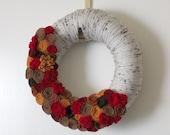 Autumn Flower Wreath, 12 inch Size - Apple Cider Colors