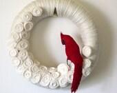Red Cardinal Yarn Felt Wreath, 14 inch