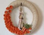 Garden Rabbit Wreath - Orange and Tan Easter Wreath with Carrots, Extra Large 18 inch size