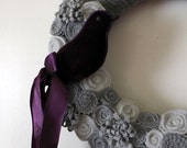 Purple Bird Wreath, Purple Wreath, Bird Wreath, Gray Yarn and Felt Wreath- 12 inch size