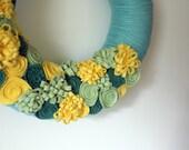 Summer Flower Wreath, Yarn and Felt Wreath, Yellow Green Aqua Colors, 12 inch size