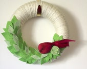 Pink Bird Accent Wreath with Leaves, Yarn and Felt Wreath - Small 10 inch size