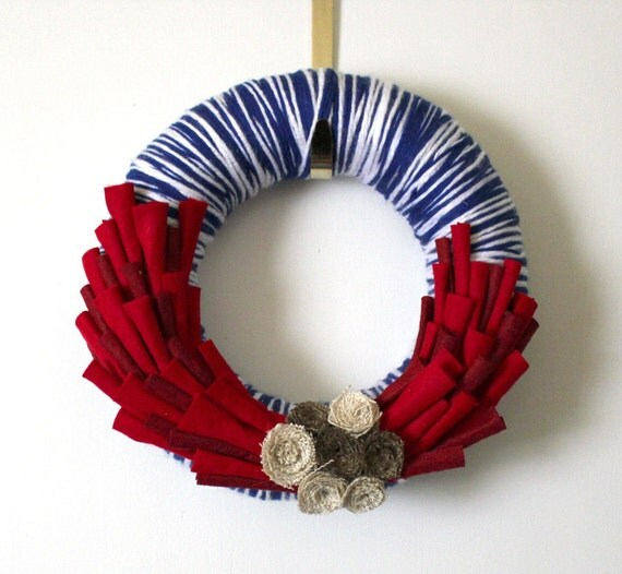 RESERVE FOR LB - Red, White and Blue Wreath, Yarn and Felt with Burlap Roses, 12 inch
