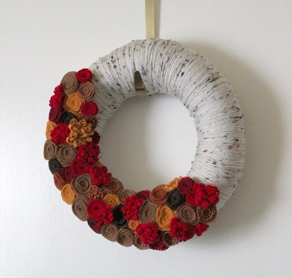 Autumn Flower Wreath, 12 inch Size - Apple Cider Colors