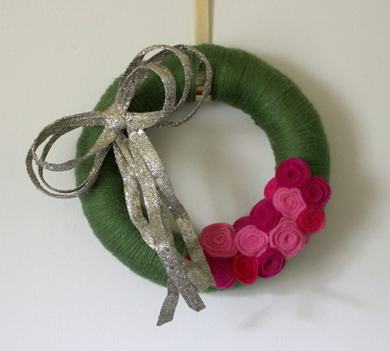 Green Bow Wreath with Pink Flowers, Small 10 inch size