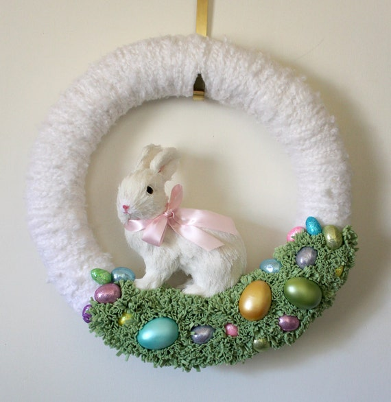 Easter Bunny Wreath with Easter Eggs, Extra Large 18 inch size