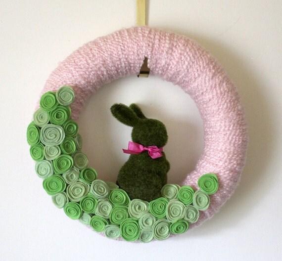Bunny Wreath, Easter Wreath, Rabbit Wreath, Nursery Wreath, Pink and Green, 14 inch size - LAST ONE