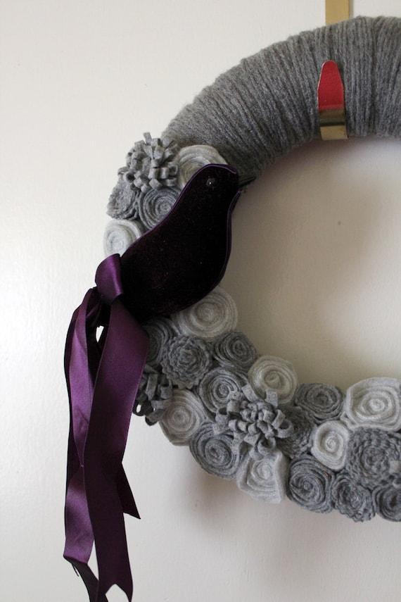 Purple Bird Wreath, Purple Wreath, Bird Wreath, Gray Yarn and Felt Wreath- 12 inch size