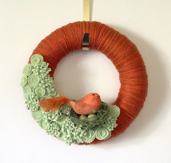 Bird Wreath, Orange Wreath, Birds Nest Wreath, Yarn and Felt Wreath - 12 inch size