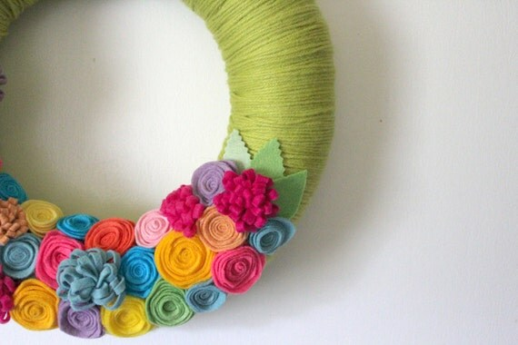 HOLD FOR T - Bright Wreath, Floral Wreath, Green Wreath, Yarn and Felt Wreath, 12 inch size