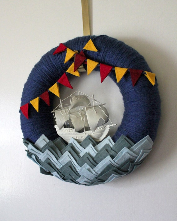Nautical Wreath, Ship Wreath, Yarn and Felt Wreath, Wreath for Boys, 12 inch size