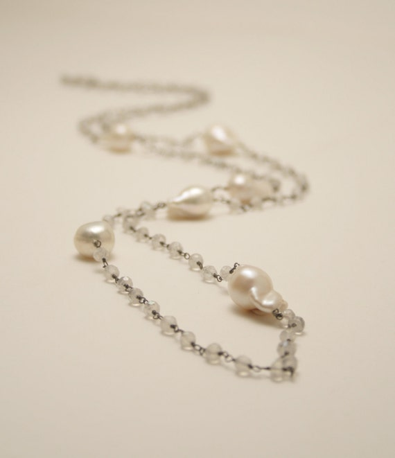 Long baroque pearl and moonstone wire wrapped chain