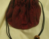Deep Red Floral Damask Travel Jewelry Tote with Black Silk Rayon Lining