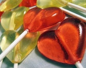 Strawberries and champagne heart lollipops - 6 pc. - MADE TO ORDER