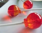 Peach melba - bubble gum ball style hard candy lollipops - 12 pc.