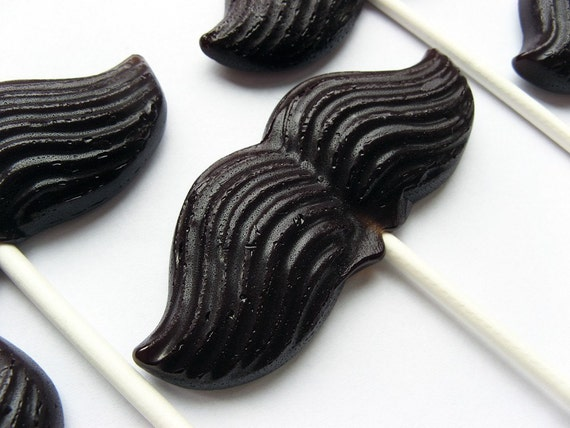 Original mustache on a stick hard candy lollipops - 6 pc. - READY TO SHIP